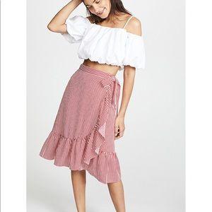 Club Monaco Red Tedon Stipe Wrap Skirt